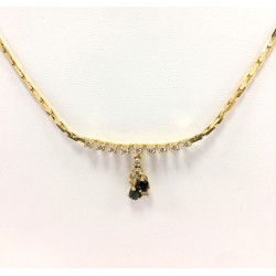 Collier or jaune Diamant et Saphir