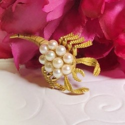 Broche Scorpion en Or jaune avec Perles de culture