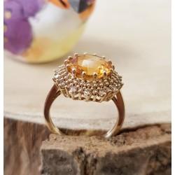 Bague en Or jaune avec Citrine et diamants