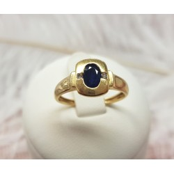 Bague or jaune et Saphir et diamants