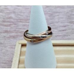 Bague 3 anneaux et diamants