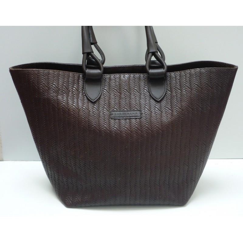 998cacd610c4f sac cabas lonchamps cuir marron