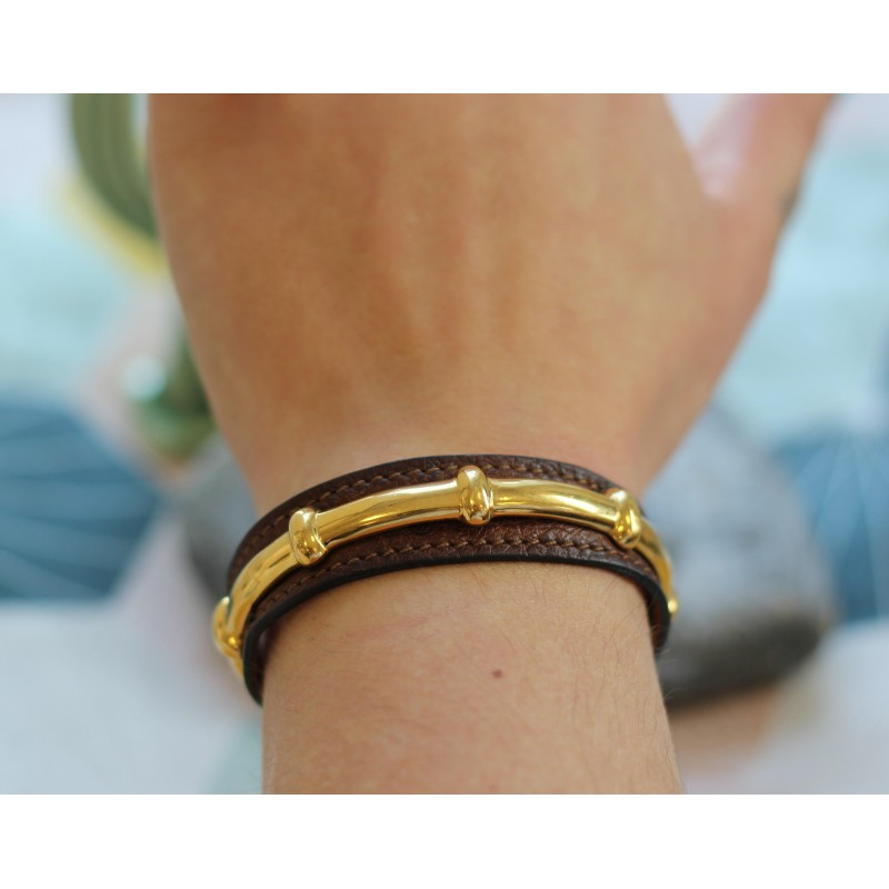ee622eef5bb2 ... where to buy bracelet hermès vintage en cuir et plaqué or. cea3c 7ba40