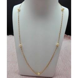 Collier or Jaune et Perles de culture