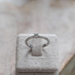 Bague Or blanc Diamant Princesse