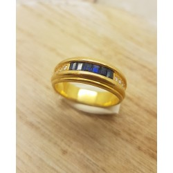 Bague or Jaune Saphirs et diamants