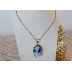 Collier or jaune Camé bleu
