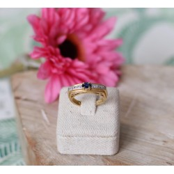 Bague or Jaune diamants et Saphir