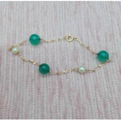 Bracelet Or jaune et Boules vertes