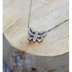Collier or blanc et Papillon diamants