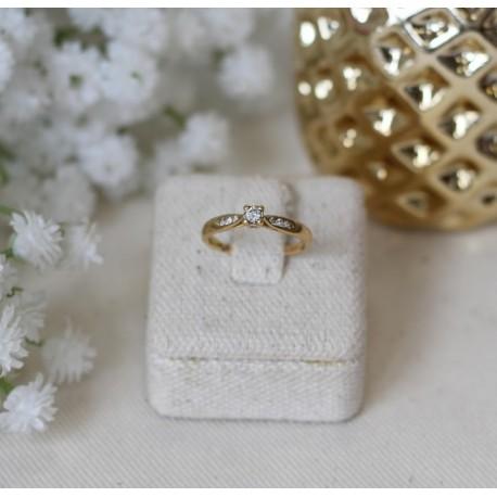 Solitaire Or jaune et Diamants