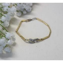 Bracelet Feuille or jaune et Oxydes