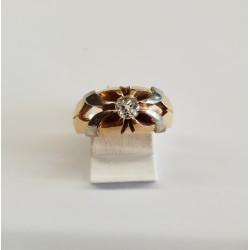 Solitaire or Jaune et Blanc avec Diamant