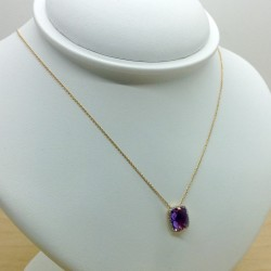 Collier Or jaune et Pierre violette