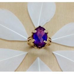 Bague or jaune et pierre violette