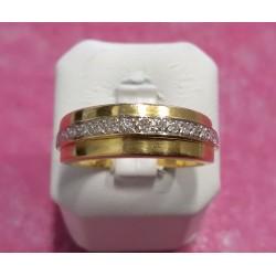 Bague or jaune avce rail diamant