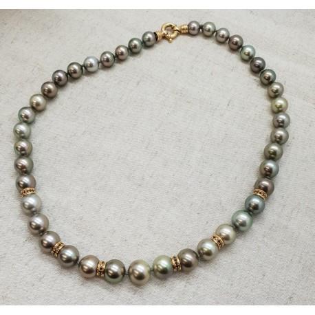 Collier Perles de Tahiti or et diamant