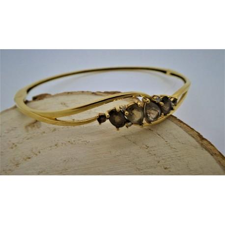 Bracelet jonc Quartz et diamants
