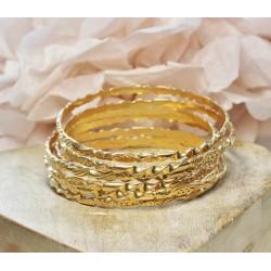 7 Bracelets Jonc en Or jaune