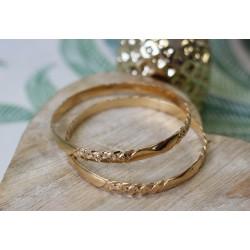 Deux Bracelet jonc en or jaune
