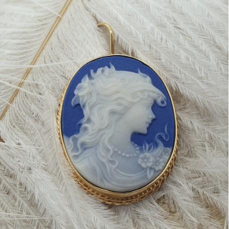 Pendentif Camé Bleu