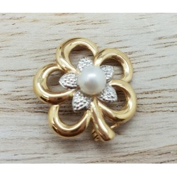 Broche or jaune et perle
