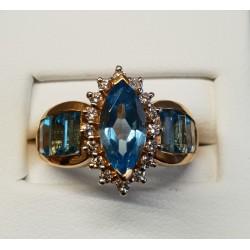 Bague Diamant et Pierres Bleues