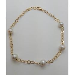 Bracelet or jaune et perles