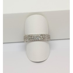 Bague or blanc tour complet pavage diamant