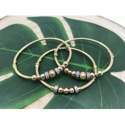 3 Bracelets joncs or jaune
