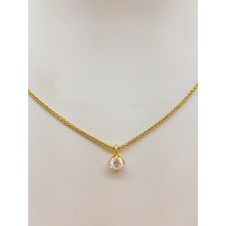 Collier en Or jaune avec Diamant de 0,22ct