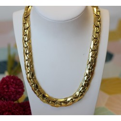 Collier or Jaune maille Haricot