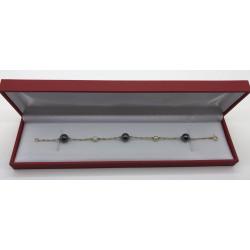 Bracelet Or Perles et Pierres Noires