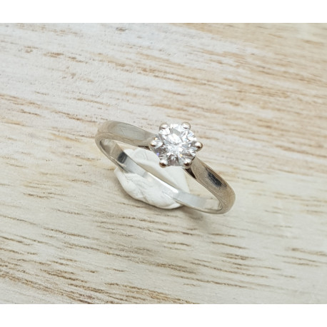 Solitaire Or Blanc et Diamant
