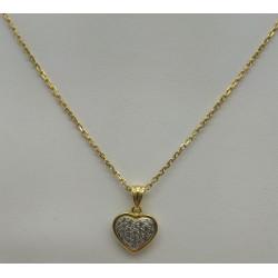 Chaine + Pendentif Coeur Or et Diamants