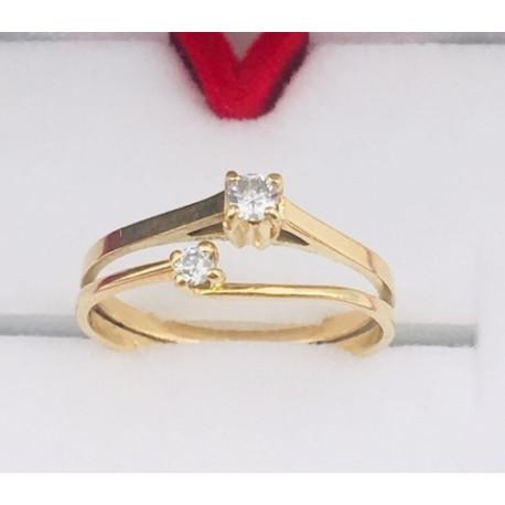 Bague Double Or Jaune et Diamants