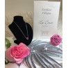 Collier or Gris et Saphir Rose