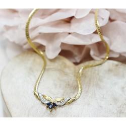 Collier en or jaune avec Saphirs et Diamants