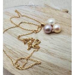 Collier chaine + pendentif Perles