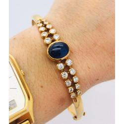 Bracelet Jonc Or Saphir et Diamants