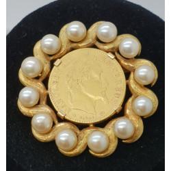 Broche Pièce Napoléon III Or et Perles