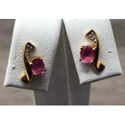 Boucles d'Oreilles Diamants et Saphirs Rose