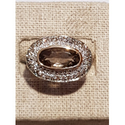 Bague Ovale Or Diamants et Quartz