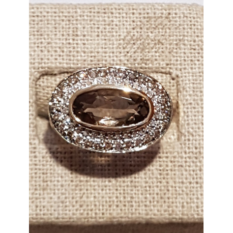 Bague Ovale Or Diamants et Quartz