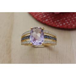 Bague Or Diamants Saphirs et Quartz Rose