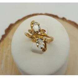Bague or jaune Aigue Marine et diamants