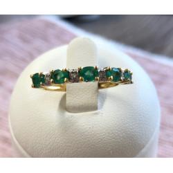 Bague Alliance Emeraudes Diamants