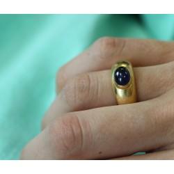 Bague anneau Or jaune avec Saphir Cabochon