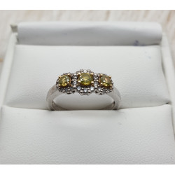 Bague diamants jaune