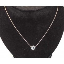 Collier Or Blanc Saphir et Diamants